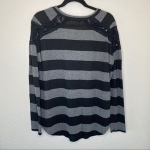 Downeast Sweaters - DownEast Black and Gray Striped Long Sleeve